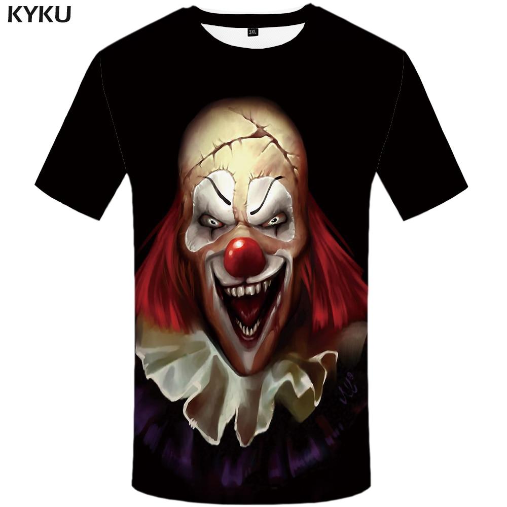 Aufstrebend Kyku Clown T Shirt Herren Unterhemd Schwarz Hip Hop Streetwear 3d T-shirt Messer Gedruckt T-shirt Kühle Geist Graphic Tee Mann Kleidung T-shirts