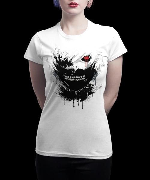 Women Casual T-shirt Mens T Shirts Fashion Tokyo Ghoul White Printed tee shirt