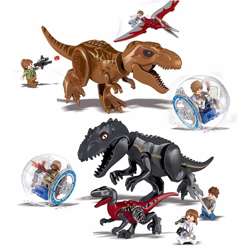 Jurassic World 2 Dinosaur Building Blocks Legoings Jurassic Dinosaur Figures Bricks Tyrannosaurus Rex Indominus I-Rex Model Toys 2 pcs set xl jurassic dinosaurs indominus rex and t rex gyrospheres