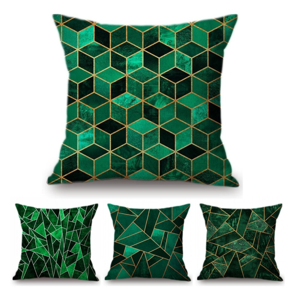 Emerald Geometric Cubes Triangle Decorative Sofa Pillow Cotton Linen Jade Green Pastoral Marble Texture Cushion Cover Car Pillow