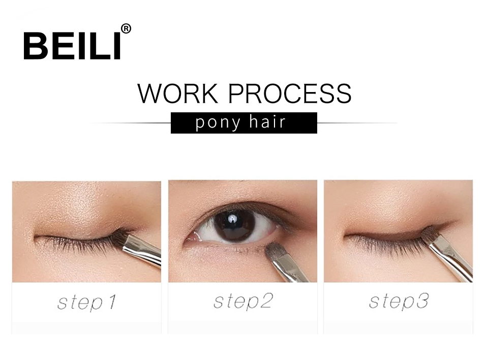 BEILI 1 Piece Goat Hair Precise blending Eye shadow Detailed small shade Single Makeup Brushes Black handle Silver ferrule 13