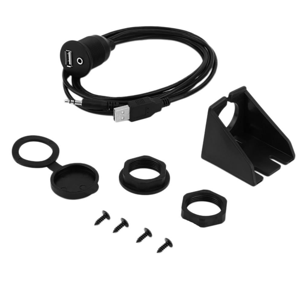 2016 1 pcs Car Flush Mount USB 3 5mm 2 0 Aux Extension Cable Lead Mounting