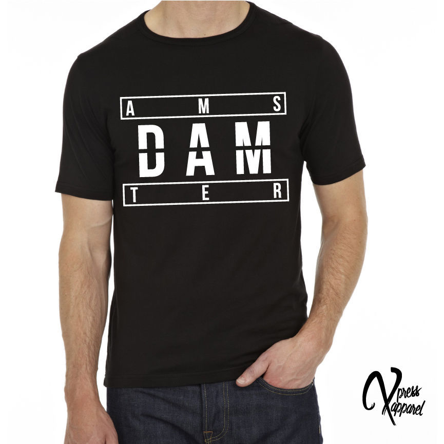 AMSTERDAM PRINTED T SHIRT MENS GRAPHIC BLACK TEE TShirt Tee Shirt ...