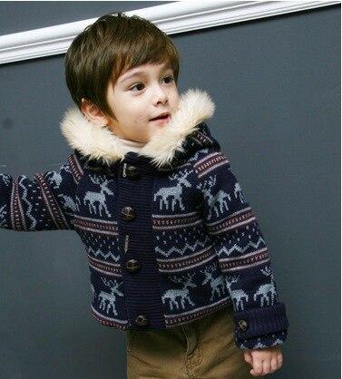 Сезон Зима 2016 Детская олень толстые шерстяные плюшевая куртка, мальчика Меховая подкла ...
