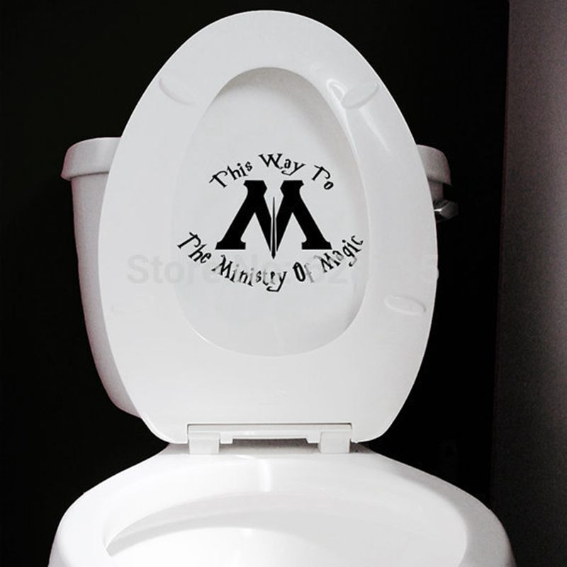 Ministry of Magic This Way Wall Decals Harry Potter Quotes Vinyl Wall Sticker Home Toilet Seat Decor