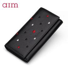 AIM Women Fashion Genuine Leather Long Wallet Luxury Brand Designer Lady Black Clutch Wallets Zipper Purse Coin Card Holder N601
