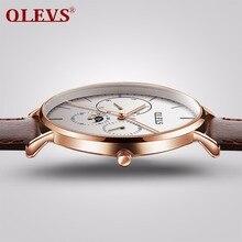 OLEVS hommes montres top marque de luxe étanche horloge en cuir acier milanais bracelet de montre quartz montre hommes relogio montre homme nouveau