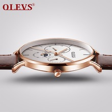 OLEVS mens watches top brand luxury waterproof clock leather steel milanese watch band quartz watch men relogio montre homme NEW
