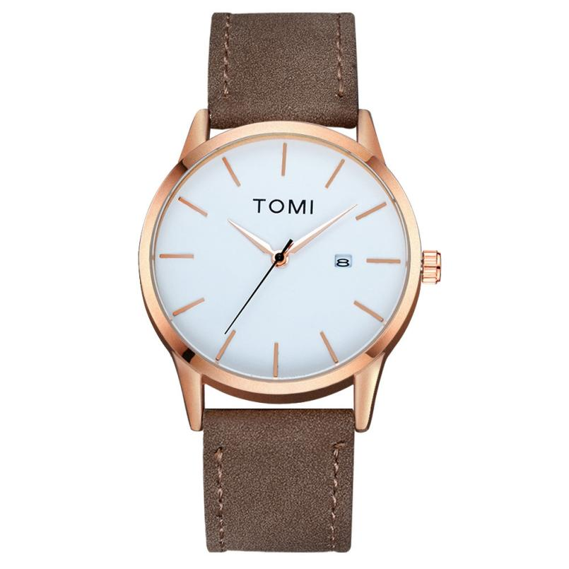 TOMI Fashion Casual Men 's Bussiness Retro Design Leather Round Band Watch  Hot Sales17Sep18 hot fashion jewelry the greatest dad retro necklace pocket watch vintage men s father birthday gift