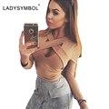 Ladysymbol outono 2016 magro camisa blusa mulheres tops de culturas casuais longo manga V Pescoço Oco Sexy Clube Moda Festa Mulheres Top Menina
