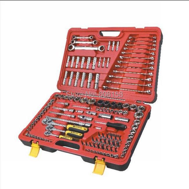 "BESTIR taiwan excellent quality 150pcs 1/4"" 3/8"" 1/2"" CRV steel complete mechanic tools set for auto repair NO.91406"