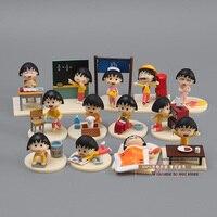 Envío Gratis Japanese Anime Cartoon Chibi Maruko Chan Acción PVC Figure Sakura Momoko Happy Day Juguetes Figuras Muñecas 12 unids CMFG002