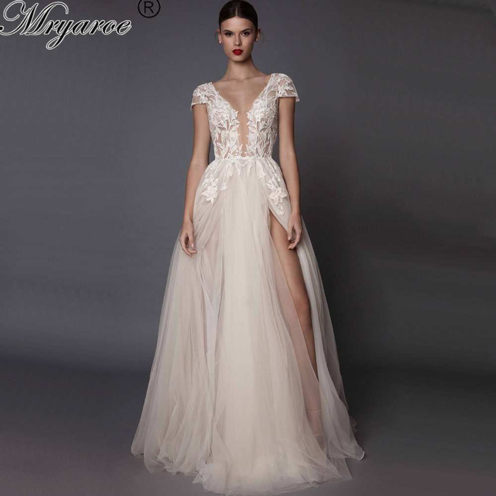 Mryarce 2019 Sexy V Neck Lace Appliques Tulle A Line Open Legs Open Back Wedding Dress