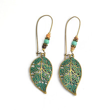 HOMOD Hot Sale Noble Vintage Leaf Earring New Design Bohemian Hollow Stud Earrings Charm Jewelry For Women Wholesale