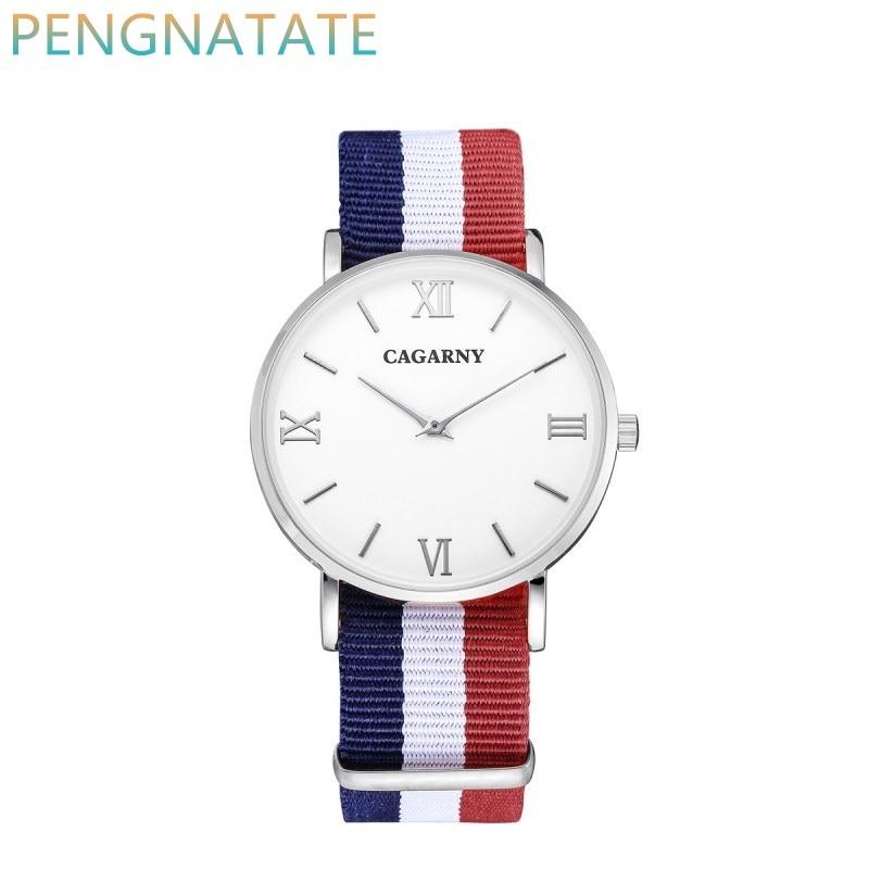 CAGARNY Watches Men Clock Style Quartz Watch men Fashion Wristwatch Ultra Thin Case Nylon Watchband Brand