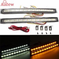 2X 12 LED White Amber License Plate Backup Lights Daytime Running DRL Driving Turn Signal Indicator