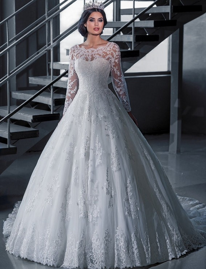 Vintage Bridal Ball Gown Long Sleeve Lace Wedding Dresses Princess ...