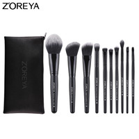 ZOREYA Brand 10pcs Makeup Brushes With Leather Bag High Quality Powder Foundation Blush Eye Shadow Brow
