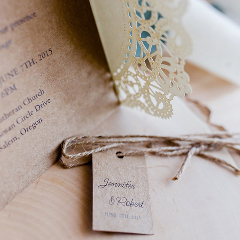 1 Set DIY Send Little Cards Design Gears Lace Wedding Invitations ...