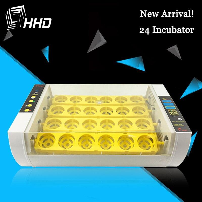 Hhd incubadora automática de ovos, mais nova máquina de chocar ovos para fazenda 24 ovos, barata, galinhas, galinheiro, codornas e varredor