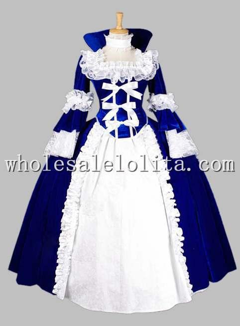 Роскошная Готическая голубая и Черная Королева Возрождения костюм/карнавальный тематический костюм - Цвет: Синий
