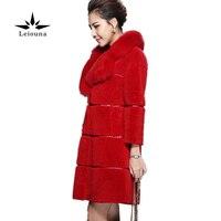 Leiouna Winter Padded Jacket Women Coats Solid Color Red Fox Fur Collar Seven Divide Sleeve Wool