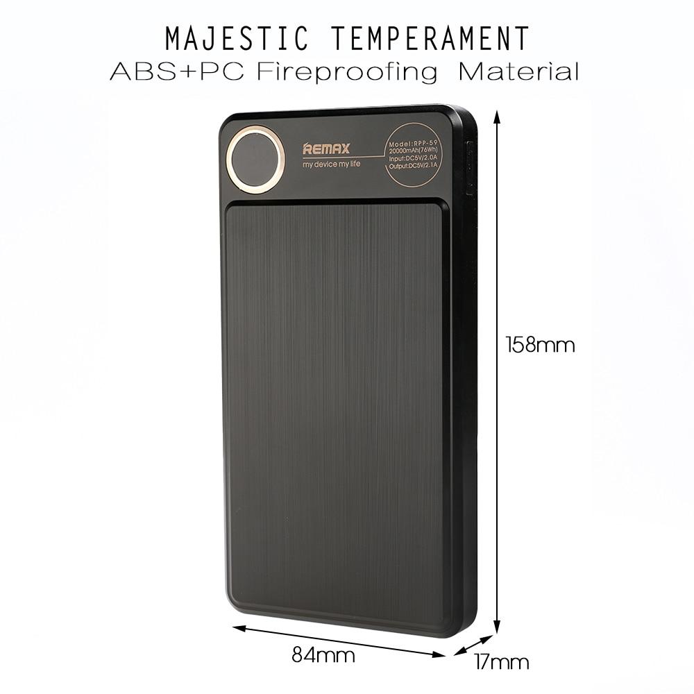 REMAX RPP-59 Power bank 20000mAh Podwójna szybka bateria polimerowa - Części i akcesoria do telefonów komórkowych i smartfonów - Zdjęcie 3