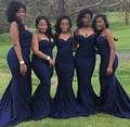 african bridesmaids dresses Navy Blue Satin Spaghetti Straps Mermaid Floor Length cheap plus size party brides maid dresses