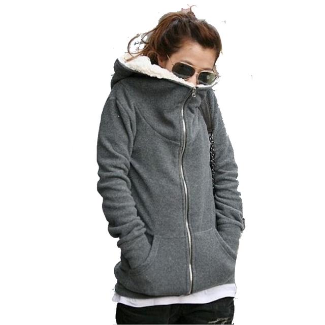 O envio gratuito de Mulheres de Lã de Manga Longa Jaqueta de Inverno Quente Casaco Com Capuz Camisola do revestimento do Parka Exteriores