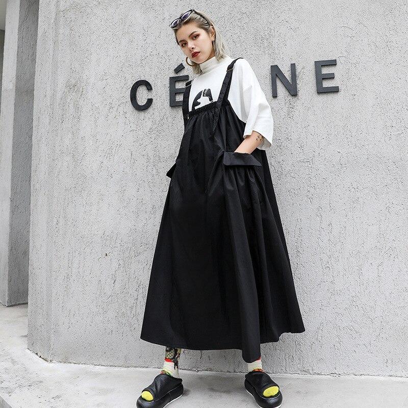 Femmes été Vintage surdimensionné lâche décontracté noir Spaghetti sangle robe femme Streetwear Punk gothique sans manches longue robe