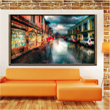 Town Street Landscape Canvas Painting Digital Printed Canvas Art Picture A Girl Walks In The Rain Oil Painting Home Decor Gift(China)