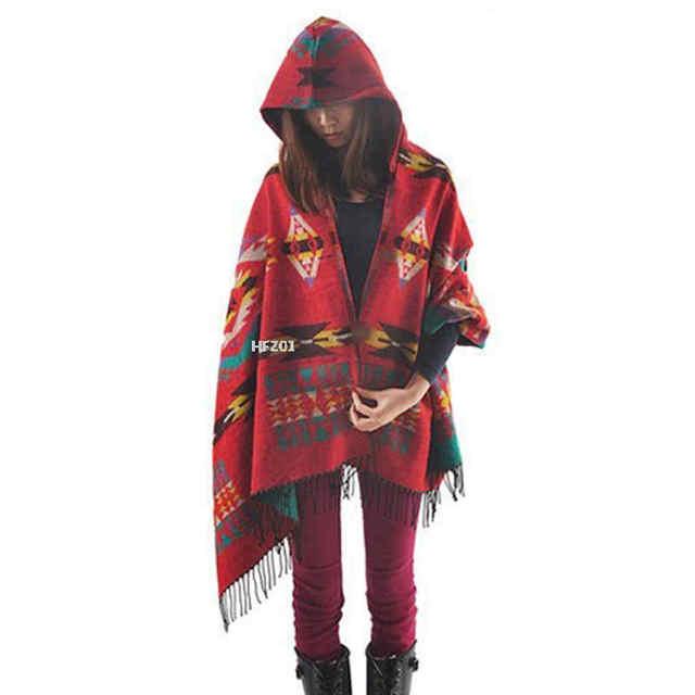 d0034df6a4afa Women cloak poncho cape coat plus size hooded bohemia loose outwear wool  blend ethnic style print blanket shawl coat ukranie