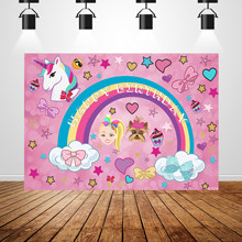 Sxy1574 Rainbows Photocall Unicorn Baby Shower 1st Birthday Backdrop For Girls Pink Jojo Siwa Backgrounds For Photo Studio 7x5ft(China)