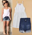 Children's Clothing Summer Set White Harness Vest+Lace Denim Shorts Girl Set Fashion Children's Clothing roupa infantil feminina