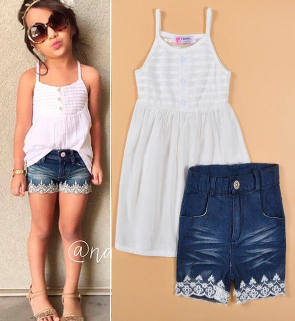 Children's Clothing Summer Set White Harness Vest+Lace Denim Shorts Girl Set Fashion Children's Clothing roupa infantil feminina