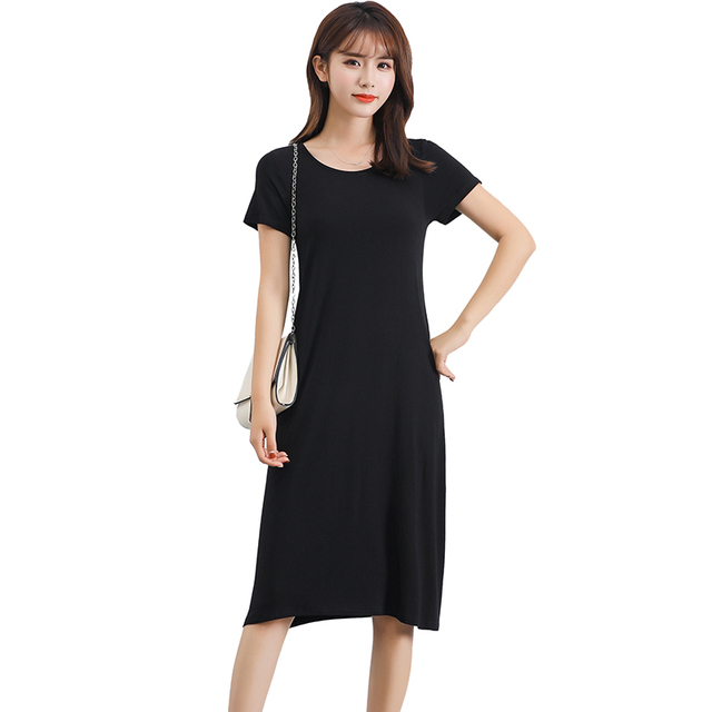ee6b61e94a7 Women Basic T-shirt Dress Solid Stretchy Round Neck Short Sleeve Midi  A-Line Dress Slim Casual One-Piece Girls School Dress 2018