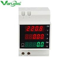 VANJING AC 80-300V 0-100A Din Rail Digital Current Voltage Power Energy Meter D52-2047 LED Multimeter Voltmeter Ammeter