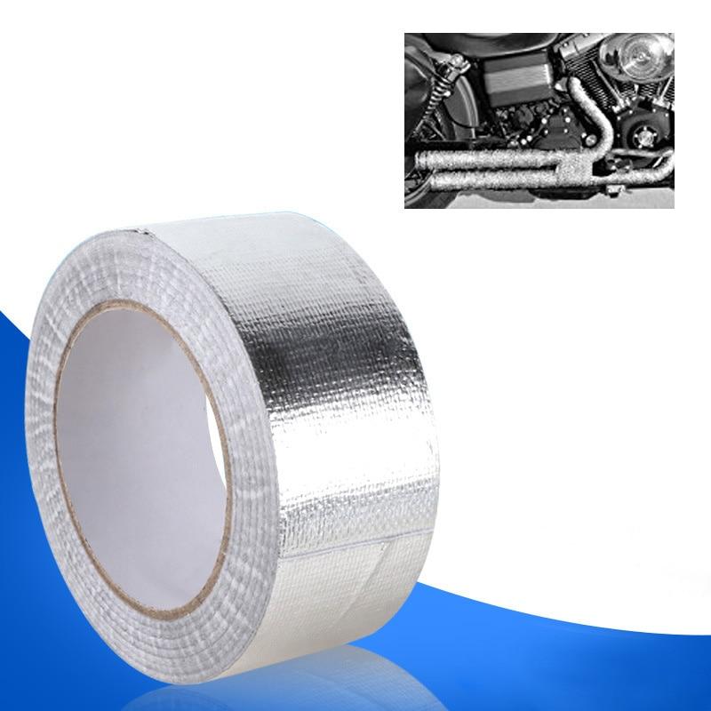 25M X 48mm Aluminum Foil Wrap Tape Car Exhaust Pipe Intercooler Tube Heat Insulation Strip Vehicle Versatile Self-Adhesive Tape