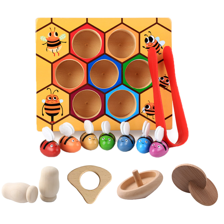Montessori Hive Games Board Beehive Toys Colorful Bees Baby Catching Toys Educational Toy Beehive Interactive Montessori Toys