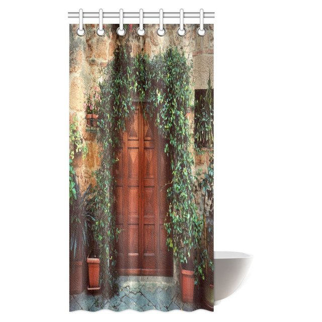Aplysia Plants Ivy Decorations On Retro Wooden Door Outside Old Italian House Fabric Bathroom Shower Curtain With Hooks