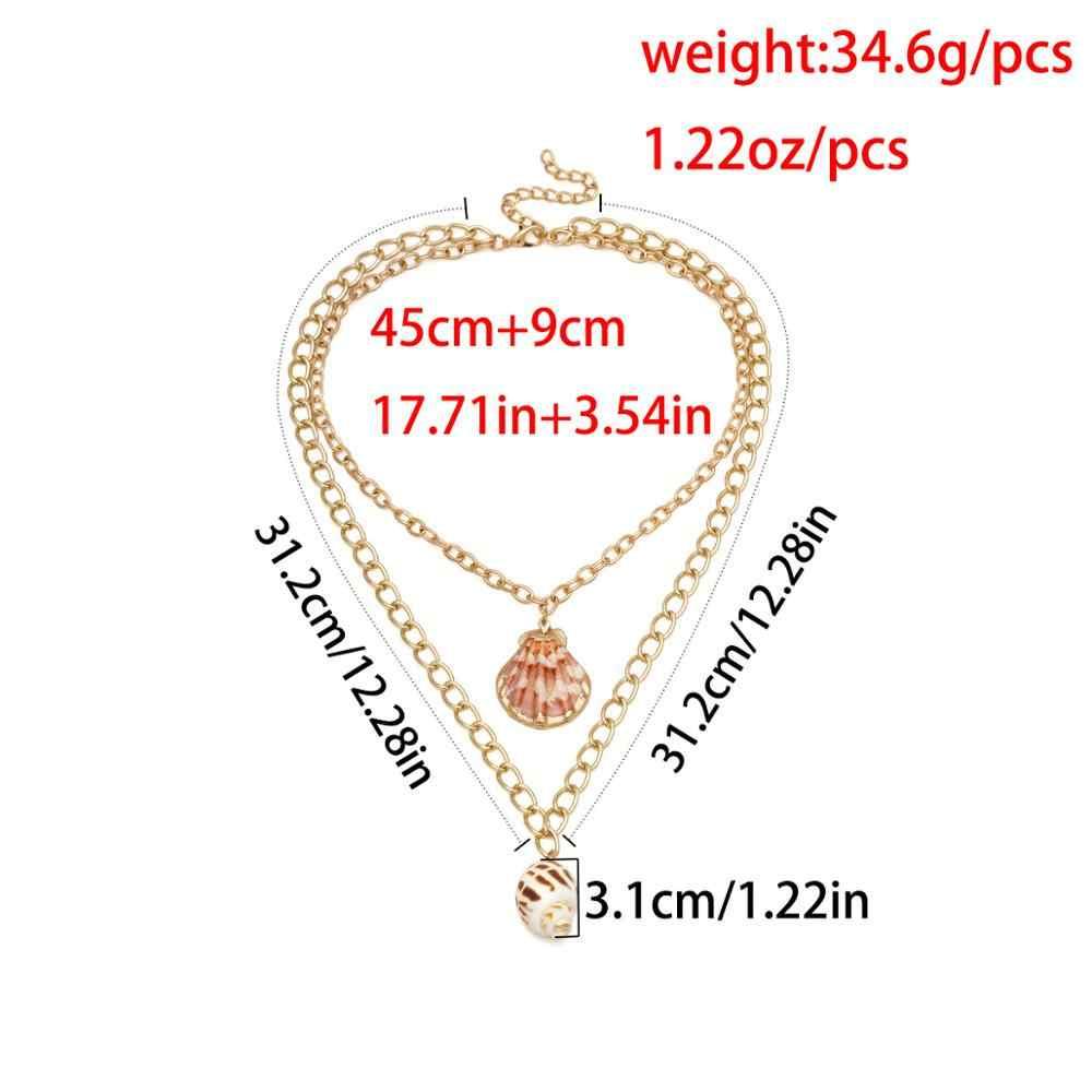 Czechy moda wielowarstwowy Golden szyszka wisiorki naszyjnik duży muszla Ocean nadmorski kołnierz gruby naszyjnik łańcuch