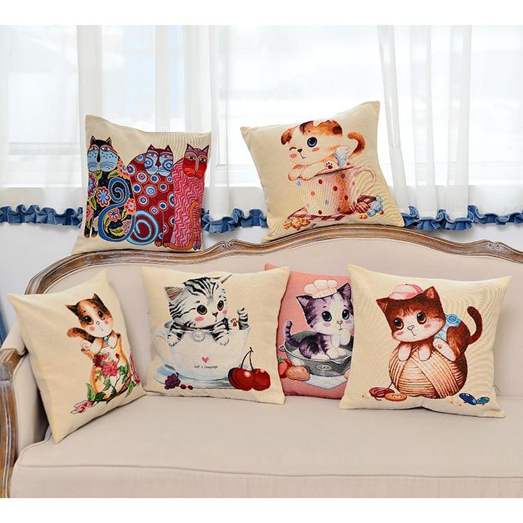 European Animal Cute Cats Cushion No Core Jacquard Embroidered Decorative Throw Pillows Home Furnishing Sofa Cushions