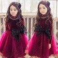 Princesa de invierno de terciopelo lining niñas vestido de otoño partido de malla patchwork tutu vestir ropa de las muchachas