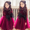 Winter Princess Velvet Lining Girls Dress Autum Party Mesh Patchwork Tutu Dress Girls Clothes