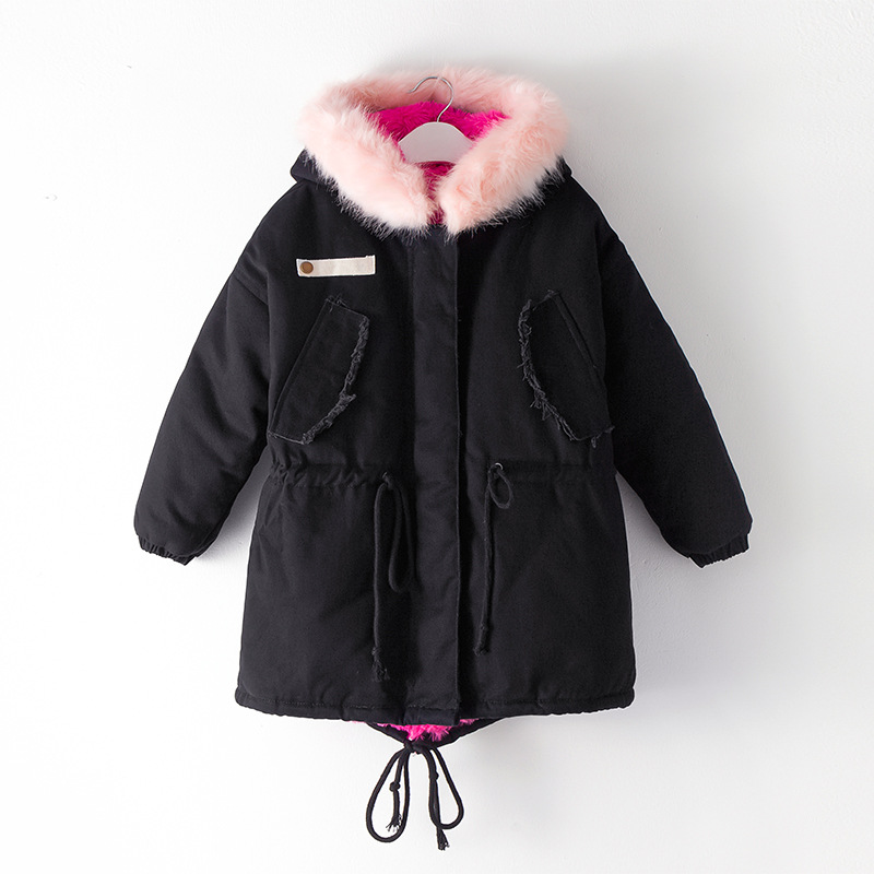 378782f4ff52 Figwit Girls Winter Jacket Coat Cotton Teen Fur Collar Coat Warm Outwear  Children Clothes Kids Long Coat Black Green Hooded