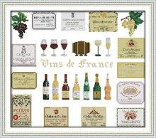 Оптовая продажа вина DMC комплекты хлопок 14ct белый 11ct печать на холсте вышивка комплект швейная ручная работа ремесла домашнего декора