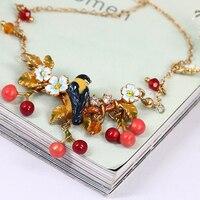 New Pattern Hand Enamel Glaze Cherry Orchard Oriole Diamond Bird Necklace Gold Plated Woman Ornaments Generation