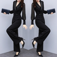 Black Chiffon Jumpsuits Leisure One Piece Pants Wide Leg Salopette Overalls Female Macacao Feminino Palazzo Pants Bodysuit Women