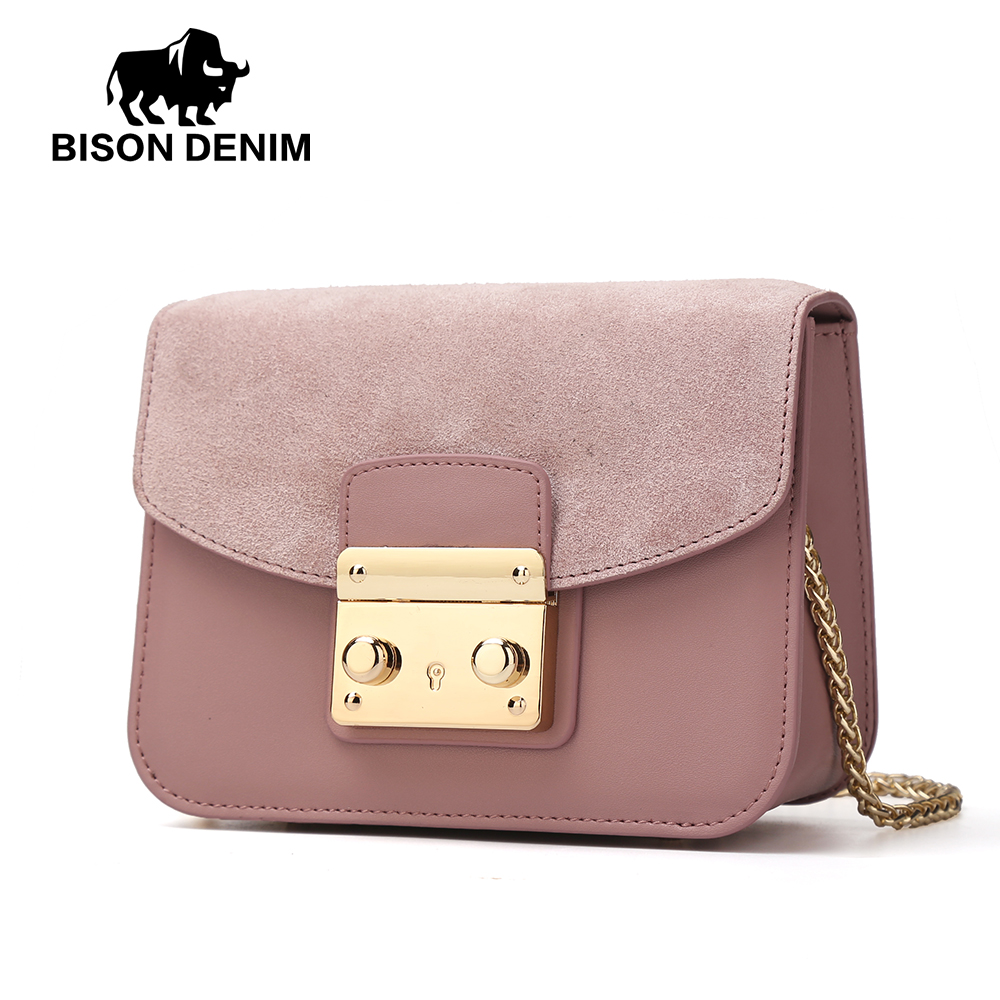 BISON DENIM Women Shoulder Bag Cow Leather Crossbody Chain Block Women Messenger Bags Detachable Cover Design Female Bags N1240