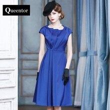 QUEENTOR 2017 brand vestidos de fiesta summer short sleeve high-end vintage blue midi party dresses women
